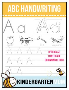 Free ABC Beginning Letter Handwriting Worksheets: Each worksheet features upper… Handwriting Ideas, Handwriting Worksheets, Handwriting Practice, Alphabet Worksheets, Alphabet Activities, Worksheets For Kids, Kindergarten Writing, Preschool Learning, Preschool Activities