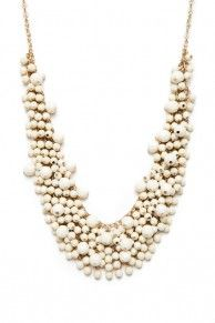 Beaded Bib Necklace in Ivory