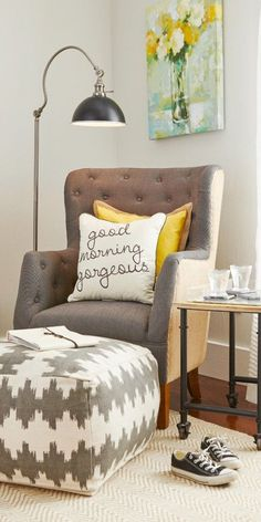 The 6 items to create a reading nook you'll love: tufted chair, pouf, reading lamp, side table, and wall art! All these pieces are from @HomeGoods!