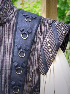 Medieval Dude's Black and Textured Stripe Doublet by CurvyWench
