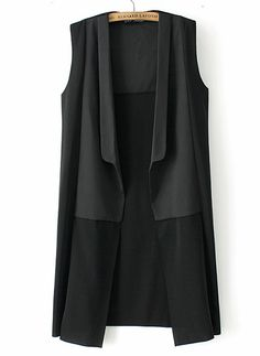 Shop Black Sleeveless Contrast Panel Longline Vest online. Sheinside offers Black Sleeveless Contrast Panel Longline Vest & more to fit your fashionable needs. Free Shipping Worldwide!