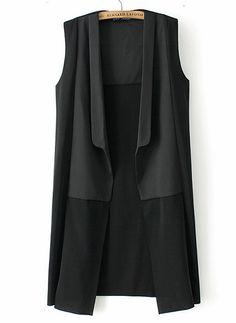 Shop Black Sleeveless Contrast Panel Longline Vest online. Sheinside offers Black Sleeveless Contrast Panel Longline Vest & more to fit your fashionable needs. Free Shipping Worldwide!
