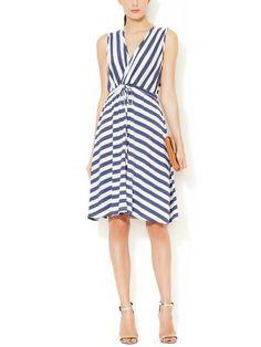 Jersey Striped V-neck Wrap Dress   Avaleigh