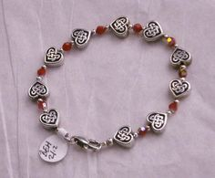Valentines Day Special 925 Sterling Silver Red Ruby Red AB Swarovski Crystal and Irish Never Ending Knot Heart Bracelet