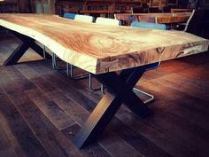 Dinning Room Tables, Diy Dining Table, Table And Chairs, Wooden Slab Table, Timber Table, Furniture Inspiration, My New Room, Interior Design Living Room, Home Furniture