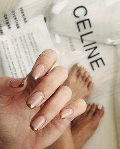 Make an original manicure for Valentine's Day - My Nails Peach Nails, Nude Nails, Acrylic Nails, Peach Nail Polish, Glitter Nails, Hair And Nails, My Nails, Nail Jewels, Nail Ring