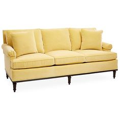 """Garbo 85"""" Roll Arm Sofa Turmeric Velvet Sofas & Loveseats ($3,895) ❤ liked on Polyvore featuring home, furniture, sofas, rolled arm sofa, handmade furniture, rolled arm loveseat, systems furniture and handcrafted furniture"""