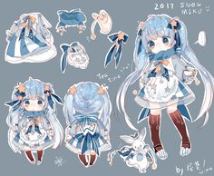 / 2017 / -snowMIKU- Cute Anime Chibi, Kawaii Anime Girl, Anime Art Girl, Kawaii Drawings, Cute Drawings, Cute Characters, Anime Characters, Illustration Kawaii, Kawaii Art