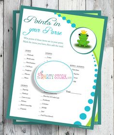 Baby Shower Games, Frog Prince, Points in your Purse, PRINTABLE, Matching Invitation available and other Baby Shower Games. $5.99, via Etsy.