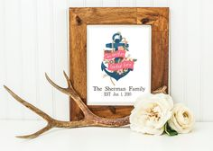 Our Anchor Landed Here, Custom Nautical Anchor Wall Art, Coral and Navy Home Decor, Anniversary & Family Dates, Gray Frames Digital Print by GrayFrames on Etsy