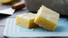 Lemon Cheesecake bars 1 box Betty Crocker® SuperMoist® lemon or yellow cake mix 1/4 cup butter or margarine, softened  3 eggs 1 package (8 oz) cream cheese, softened 1 cup powdered sugar  2 teaspoons grated lemon peel 2 tablespoons lemon juice  Heat oven to 350°F (325°F for dark or nonstick pan). In large bowl, beat dry cake mix, butter and 1 egg with mixer on low until crumbly. Press in bottom of ungreased 13x9-inch pan.