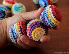 crocheted juggling balls are a fun old time stocking stuffer you can hook up with scrap yarn!