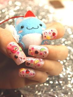 cute 3d japanese style nail art. Pink with fimo and acrylics. Fruits and animal manicure
