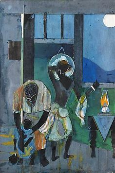 Romare Bearden - Moon Light, c. Collage and oil on fiberboard, 18 x 12 inches. Collages, Collage Artists, African American Artist, American Artists, Illustrations, Illustration Art, Romare Bearden, Afro Art, Black Artists