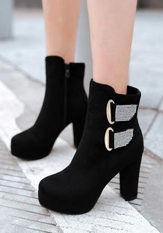 New Women Black Round Toe Chunky Zipper Rhinestone Casual Ankle Boots