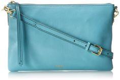 Fossil Sydney Top Zip Cross Body Bag,Sky Blue,One Size