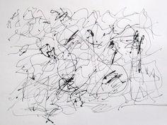 Gabriel Lalonde - Écritures inventées  Laisser flotter le noir 2 & 3  Encre sur papier aquarelle  Mars 2013