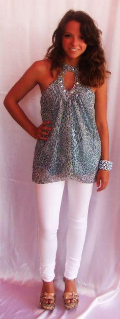 - Embellished Bebe Top: $79.99  (Sizes: S,M,L)  - White Skinny Jeans: $49.99  (Sizes: 1,3,5,7,9,11,13)  - Turquoise Bracelet: $24.99