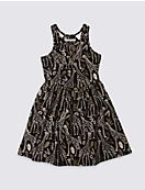 Cotton All Over Print Dress with Stretch (3-14 Years)