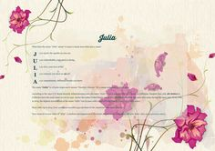 The #namemeaning of #Julia using Watercolor in Pink from the project pack Flowers. Unique #giftideas and #personalizedgifts for #babynames