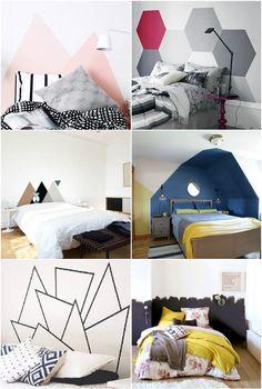 tete de lit en peinture forme géométrique a faire soi meme diy motif a peindre au mur dans la chambre scandinave