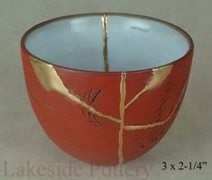 Terracotta antique chinese tea cup - kintsugi
