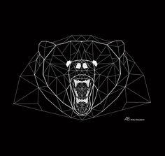 Geometric art. Grizzly Bear