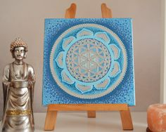3D Flower of Life Sacred Geometry ​Lotus Flower Mandala Dotillism Art   Final coats of high quality varnish have been applied to protect the painting The painting is stretched on a wooden frame , so no framing is required as I have painted the edges.