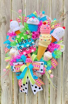 A Birthday Party, Birthday Party Decorations, Wreaths For Front Door, Door Wreaths, Creative Box, Hand Painted Signs, Deco Mesh Wreaths, Summer Wreath, Mothers