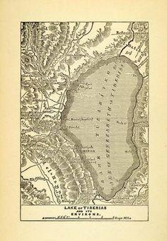 1903 Woodcut  Antique Map Sea Galilee Lake Tiberias Middle Eastern Cartography