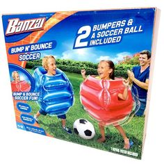 Bounce around or against your opponent to get to the goal Inflate the body bumpers slip them on and have a bouncing good time Spy Board Game, Scrabble Words, Kids Outdoor Play, Ticket To Ride, Strategy Games, Word Games, Family Games, Things That Bounce, Soccer