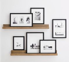 Photo Shelf, Picture Shelves, Photo Ledge Display, Ikea Picture Ledge, Wall Picture Frames, Modern Picture Frames, Gallery Wall Frames, Gallery Wall Shelves, Ikea Gallery Wall