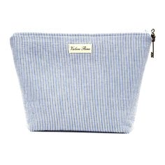 Large Zip Cosmetic Bag in Blue Seersucker