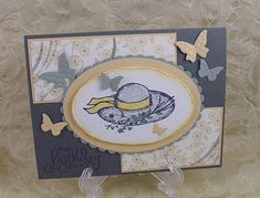 Paper: Artichoke, Saffron, Moss, White, Le Jardin DSP Ink: Black, markers Accessories: Beautiful Wings embosslit, Nestabilities Oval and Scallop Oval, Distressing tool