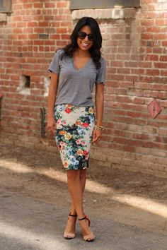 grey t / floral skirt / color-blocked sandals