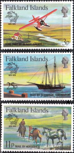 Falkland Islands 1979UPU Set Fine Mint SG 368 70 Scott 295 7 Other South Pacific and British Commonwealth Stamps HERE!