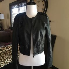 Sexy biker jacket❤️ Sexy biker jacket made from vegan leather features detailed zippers at bottom of arms, 3/4 length sleeves, fully lined and zip front Jackets & Coats Blazers