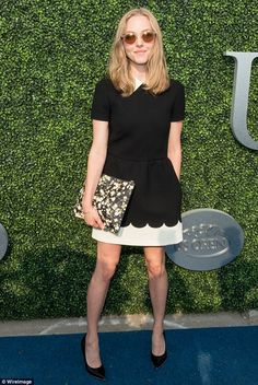 Top marks for style: Amanda Seyfried was a vision of elegance in a monochrome dress as she...