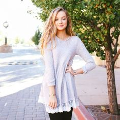 Tamarac Lace Trim Top in Grey