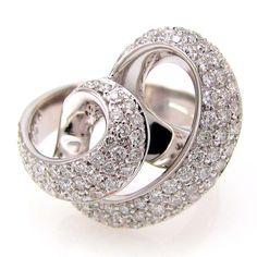 Stunning 1.35ct Diamond Pave' Swirl Ribbon Cocktail Ring 18K White Gold | FJ BTX #Cocktail