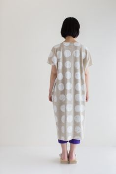 Rectangle One piece dress Linen Cotton Blend Abstract Dots $79.90