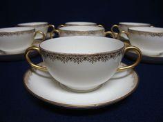 7 Antique Limoges Two-Handled Cream Soup & Saucer Sets. Charles Martin, France #CharlesMartin