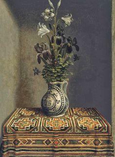 Hans Memling,  Flowers in a Jug circa 1485 oil on panel, 28.5 × 21.5 cm, Thyssen Bornemisza MuseumHans Memling (Seligenstadt, 1439/40-Bruges, 1494), Fleurs dans un vase, c. 1485 Huile sur panneau de chêne, 29,2 x 22,5 cm, Madrid, Museo Thyssen-Bornemisza (revers d'un Portrait de jeune homme conservé dans le même musée)