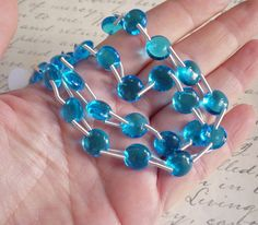 SALE Bright Swiss Blue Topaz Round Spacer Link by extremebeads