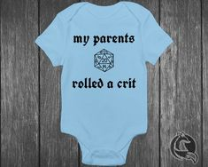 Gaming Baby Clothing - My Parents Rolled A Crit - Tabletop Gamer - Dungeons And Dragons - DND Di Dragon Nursery, Nerd Room, Baby Bodysuit, Baby Onesie, Yellow Fabric, Baby Games, Baby Shirts, Simple Dresses, Rpg