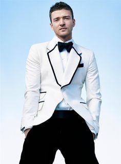 Mens white suit jacket with black trim