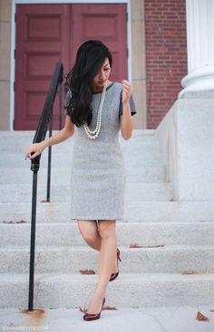 Simple work look - tweed sheath dress with long pearls and colored pumps   Professional Style @ Levo (via Extra Petite Blog)