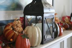 Fall mantle decor..  Just wish I had a mantle!!!.
