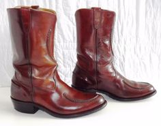 DOUBLE H HH 1608 Western Cowboy Cherry Red Leather Work Boots Men's Size 11 D #HH #CowboyWestern