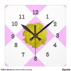 Yellow Roses Square Wall Clock